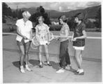 Marijohn Sundt gives a tennis lesson at Cimarroncita Ranch Camp
