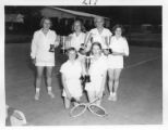 Marijohn Sundt with tennis trophy winners at Cimarroncita Ranch Camp