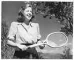 Peggy Brinton on the Tennis Court at Cimarroncita Ranch Camp