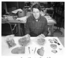 Wolcott 'Wolky' Toll, archaeologist, displays Anasazi artifacts