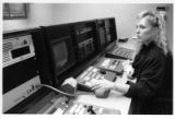 Martha Townsen, film editor and professor at College of Santa Fe, at editing board in Garson...
