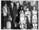 Charles, Prince of Wales, visiting Santa Fe with Governor Bruce King and Native Americans