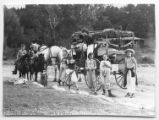 Costumed campers with a decorated carriage at Cimarroncita Ranch Camp