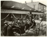Theodore Roosevelt's visit, Roosevelt waving hat, Eugene A. Fiske riding in carriage, Santa Fe,...