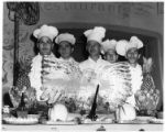 Chefs/restaurant staff with ice sculpture, La Fonda hotel, Santa Fe, New Mexico