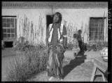 Julian Martinez of San Ildefonso Pueblo in patio of the Palace of the Governors, Santa Fe, New...