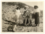 Miss Ross, Catalina Jarmijo [sic?], and I [Ivah Schumaker?] at the sandhills at Colorado, New...
