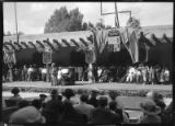 Performance in front of the Palace of the Governors, likely Tsianina Redfeather Blackstone,...