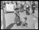 "Fiesta pet parade prize winner, Nancy Wood, age 5, and pet dog ""Schnappsy"", Santa Fe,..."