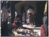 Native American vendor under portal during fiesta, Palace of the Governors, Santa Fe, New Mexico