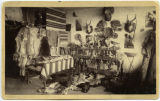 """Section of my store, [J.W.D] Stovell."" Interior of Stovell's Curiosity Shop, Colorado..."