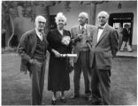 Left to right artists Ernest L. Blumenschein, Eugenie Shonnard, Gustave Baumann and architect John...
