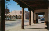 First National Bank of Santa Fe from the portal of the Palace of the Governors, Santa Fe, New...