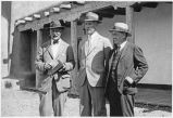 Left to right Alfred V. Kidder, Jesse Nusbaum and Clark Wissler in front of the Laboratory of...