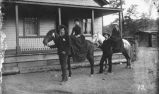 Women on horseback in front of home, mining area of Hillsboro and Kingston, New Mexico
