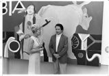 Artist Fritz Scholder with Lee Udall at the Bureau of Indians Affairs in Washington, D.C.