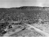 Otowi Station and Edith Warner's house on old highway showing Denver and Rio Grande Railroad...