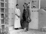 Mary Austin and Ernest Thompson Seton at Mrs. Austin's home, Santa Fe, New Mexico