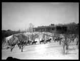 Horse riders in the snow, Bishop's Lodge, Santa Fe, New Mexico