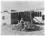 Woman with harvested corn, Isleta Pueblo, New Mexico