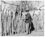 Jose Ortiz y Pino III repairing fence near Galisteo, New Mexico