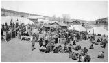 Temporary kitchen for feeding the Navajo Indians attending the Council meeting at Fort Defiance,...