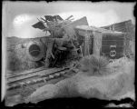 Wreck of locomotive 161 after explosion, El Paso and Northeastern Railroad