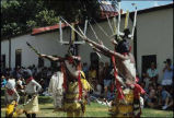 Mescalero Apache Mountain Spirit Dancers in the courtyard of the Palace of the Governors, Santa...