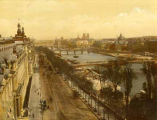 Panorama of Paris, France showing Seine River