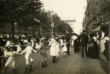 Public celebration in street following the end of World War I, Paris France