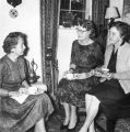 Ladies having tea including far right Mrs. V. Berchtold, sister of Mrs. Clara Mabry