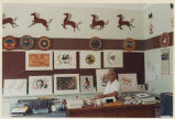 Al Momaday with student art, Jemez Pueblo Day School, New Mexico
