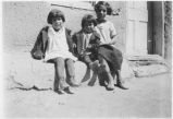 Children at Tesuque Pueblo, New Mexico, Priscilla Vigil on left