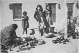 Pottery vendors at Santa Clara Pueblo, New Mexico