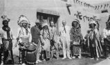 Edgar L. Hewett (in white suit) with group during Santa Fe Fiesta, Santa Fe, New Mexico