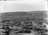 View of Jemez Pueblo to the West, showing  arrangement of streets and plaza, Jemez Pueblo, New...