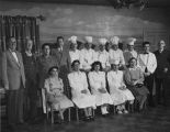 Staff of La Fonda Hotel including manager David Cole on far left, Santa Fe, New Mexico