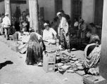 Vendors under the portal of the Palace of the Governors during Indian Market, Santa Fe, New Mexico