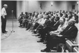 Los Alamos Scientific Laboratory Director Norris Bradbury addressing meeting, Los Alamos, new...