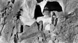 Adolph Bandelier and Adelaido Montoya at cave ruins in Frijoles Canyon, New Mexico, December 5,...