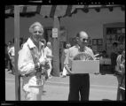 Museum of New Mexico Director George Ewing on right, at Indian Market, Santa Fe, New Mexico,...
