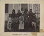 """Chiricahua Apaches as they arrived at Carlisle from Fort Marion, Florida, November 4th.,..."