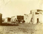 View of adobe buildings, Isleta Pueblo, New Mexico