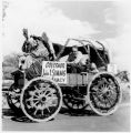 Covered wagon in parade carrying Governor John Simms, Santa Fe Fiesta, New Mexico