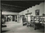 Interior of history library, Palace of the Governors, Santa Fe, New Mexico