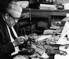 Filigree jewelry maker Adolfo (Slim) Ortiz in his shop on Don Gaspar Street, Santa Fe, New Mexico