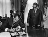 New Mexico Congressman Manuel Lujan with President Richard M. Nixon, Washington, D.C.