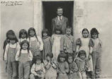 Teacher and students, Santa Clara Pueblo School, New Mexico
