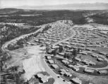 Aerial view of Los Alamos, New Mexico looking east along Sandia Drive