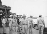 Admiral Nimitz and Admiral Spruce with other Naval personnel aboard USS New Mexico